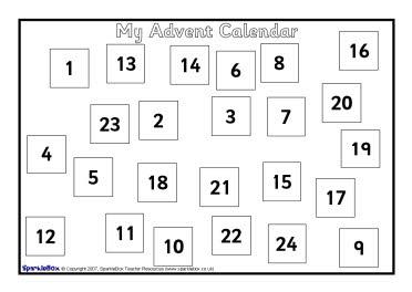 create my own calendar template - make your own a4 sized advent calendar sb1062 sparklebox