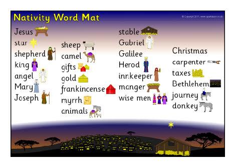 Nativity word mat (SB1102) - SparkleBox