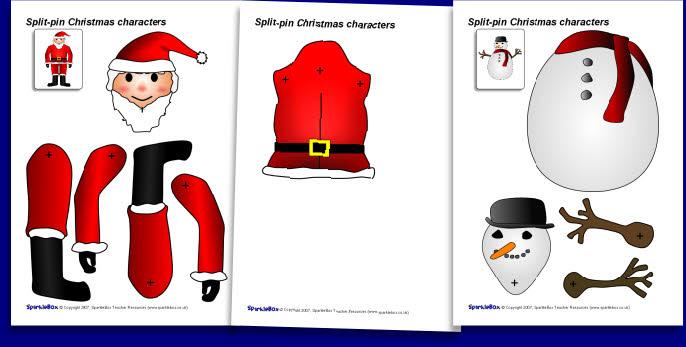 Split Pin Christmas Characters Sb1132 Sparklebox