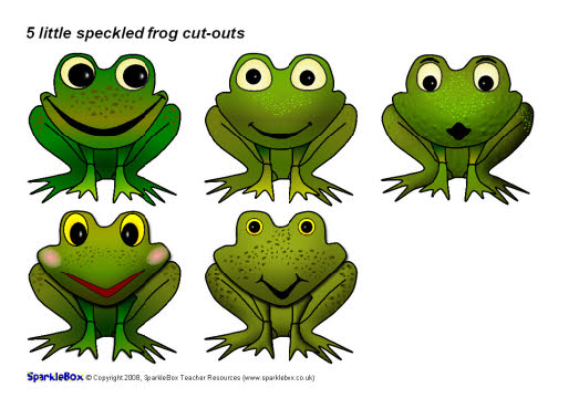 5 little speckled frog cut-outs (SB1512) - SparkleBox