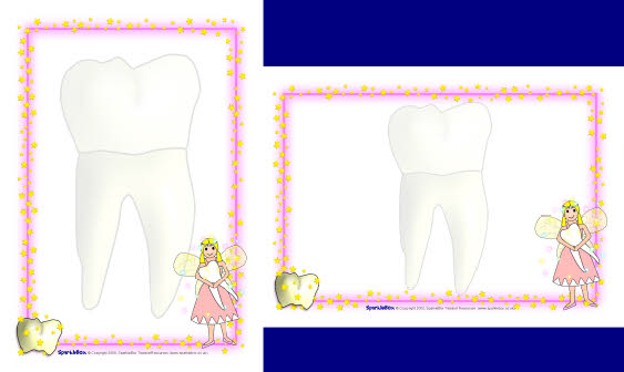 Tooth fairy A4 page borders (SB1730) - SparkleBox