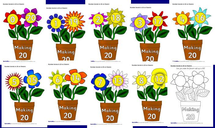 Number bonds to 20 on flowers (SB1750) - SparkleBox