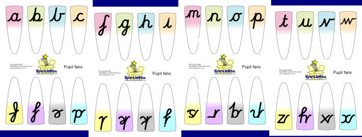 Alphabet fans - cursive (SB1913) - SparkleBox