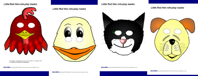 Little Red Hen role-play masks (SB2015) - SparkleBox