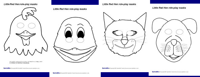 Little Red Hen role-play masks - black and white (SB2016) - SparkleBox