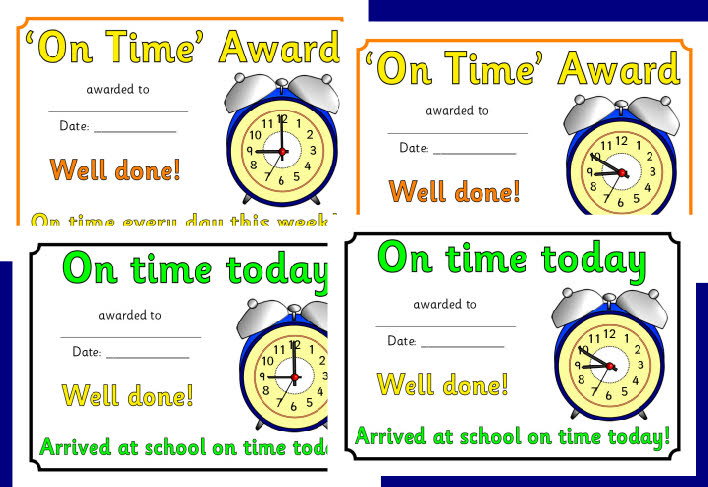 On Time Award Certificates Sb2100 Sparklebox