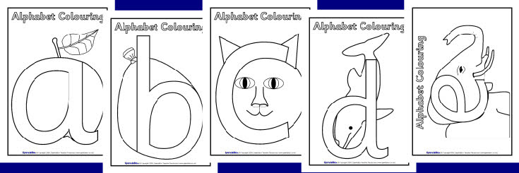 Illustrated alphabet colouring sheets SB2163 SparkleBox