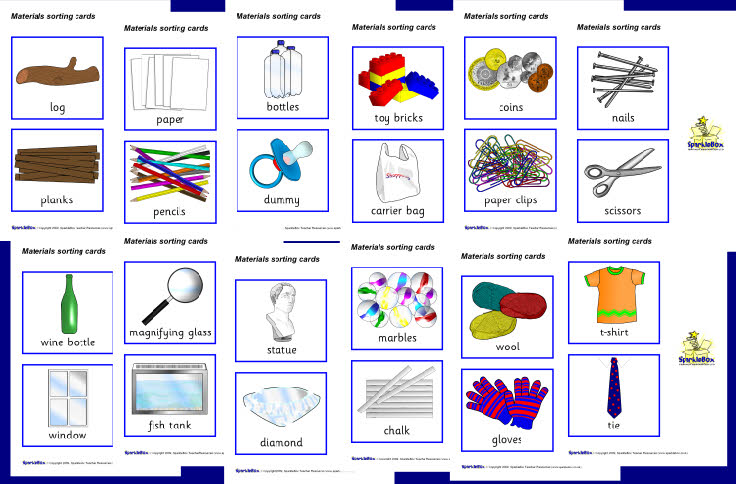 materials sorting cards sb2409 sparklebox. Black Bedroom Furniture Sets. Home Design Ideas