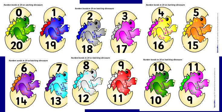 Number bonds to 20 on hatching dinosaurs (for display) (SB2507 ...
