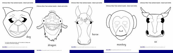 Chinese New Year animal masks - black and white (SB2942) - SparkleBox