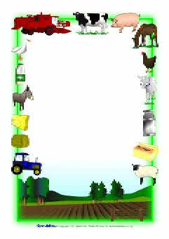 farm animal border writing paper