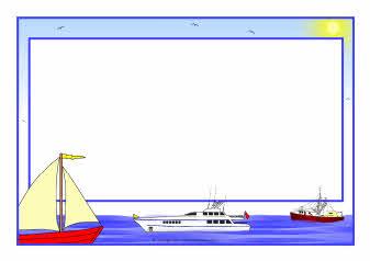 At sea A4 page borders (SB4759) - SparkleBox
