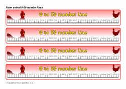 Farm animals 0-50 number lines (SB5355) - SparkleBox