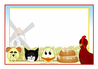 Little Red Hen story characters A4 page borders (SB5813) - SparkleBox