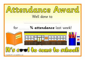 Attendance award certificates  SB5946   SparkleBox