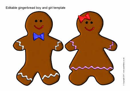 Editable gingerbread boy and girl templates (SB6414) - SparkleBox