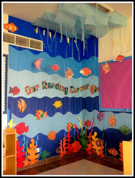 Under the sea reading corner classroom display photo for Aquarium corner decoration