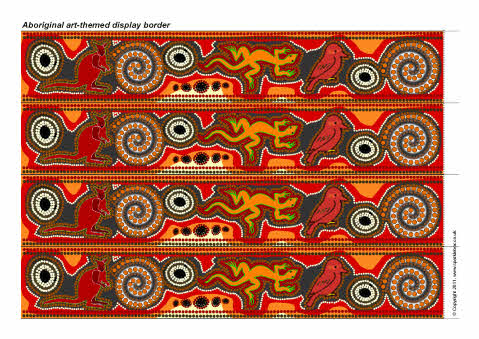 Aboriginal art-themed display border (SB7300) - SparkleBox