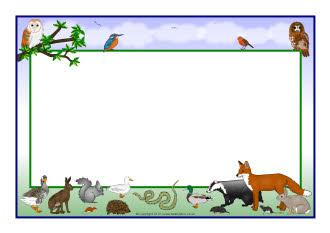 British wildlife A4 page borders (SB7852) - SparkleBox