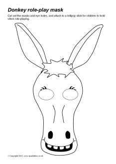 donkey face mask template donkey role play masks sb8007 sparklebox