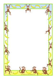 monkeys and bananas a4 page borders  sb8473  sparklebox sea lion clip art black and white Seal Clip Art