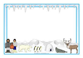 Polar regions A4 page borders (SB8957) - SparkleBox