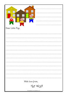 Wolf Sorry Letter Writing Frames Three Little Pigs