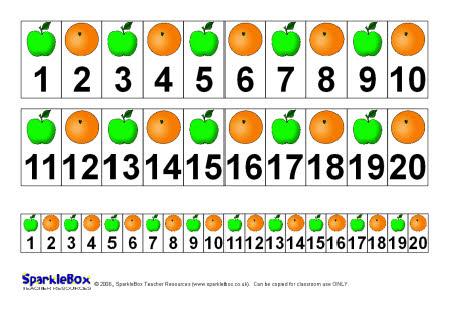 Apple/orange number tracks (SB212) - SparkleBox