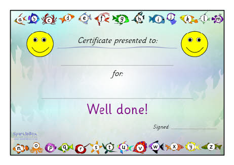 Sparklebox Sea Of Sounds Well Done Certificate Sb33