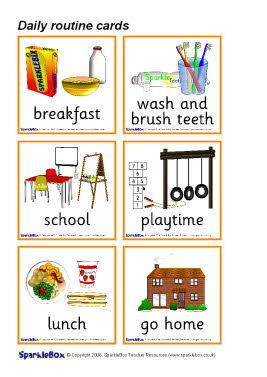 daily routine picture cards sb514   sparklebox