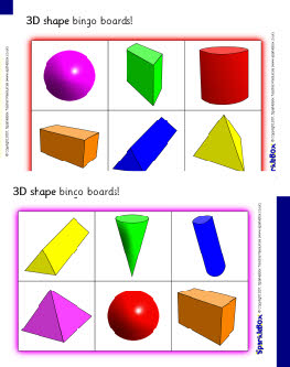 3D shape bingo boards (SB625) - SparkleBox