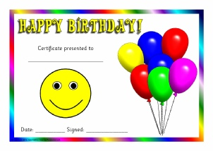 graphic relating to Printable Birthday Certificates called Printable Birthday Award Certificates for Early Yrs KS1