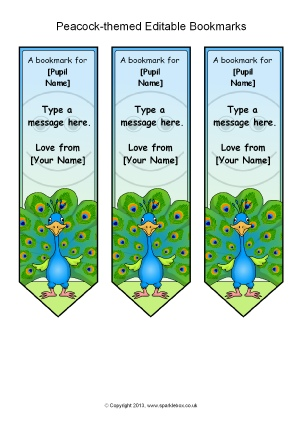 view preview peacock themed editable bookmarks