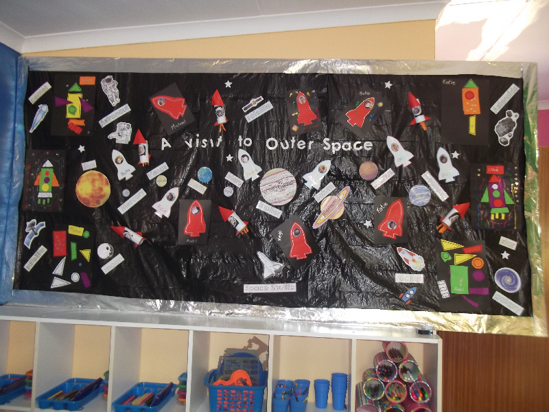 Outer space crafts classroom display photo photo gallery for Outer space classroom decor