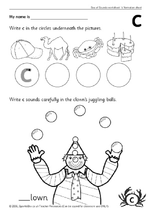 Number Names Worksheets fun phonics worksheets : Letter C Phonics Activities and Printable Teaching Resources ...