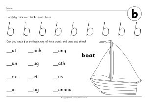 Letter B Phonics Activities and Printable Teaching Resources