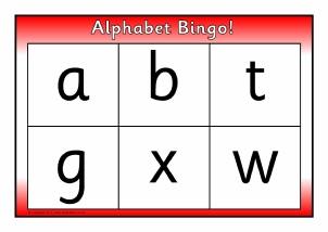 Free ks1 alphabet phonics bingo lotto games sparklebox alphabet letter bingo sb3807 spiritdancerdesigns Image collections