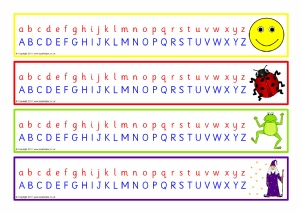 graphic about Alphabet Line Printable named KS1 Alphabet Strips and Tabletop Alphabet Traces - SparkleBox