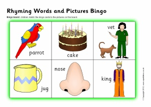 Worksheets Rhyming Words Reception Class ks1 rhyme rhyming resources activities games sparklebox words and pictures bingo sb837