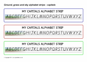 image about Alphabet Line Printable titled KS1 Alphabet Strips and Tabletop Alphabet Traces - SparkleBox