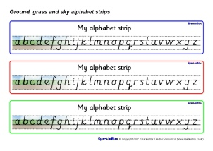 image regarding Alphabet Strip Printable identified as KS1 Alphabet Strips and Tabletop Alphabet Traces - SparkleBox
