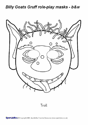 Three billy goats gruff teaching resources story sack for Swan mask template