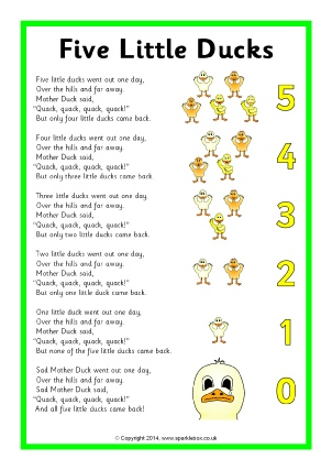 Five Little Ducks Nursery Rhyme Teaching Resources