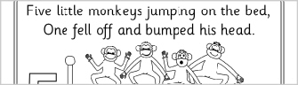 free coloring pages of 5 little monkeys jumping bed book
