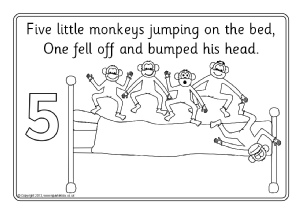 five little monkeys jumping on the bed coloring pages five little monkeys jumping on the bed nursery rhyme