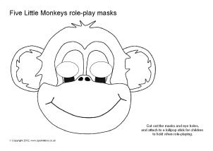 5 little monkeys colouring sheet - Szukaj w Google | 214x302