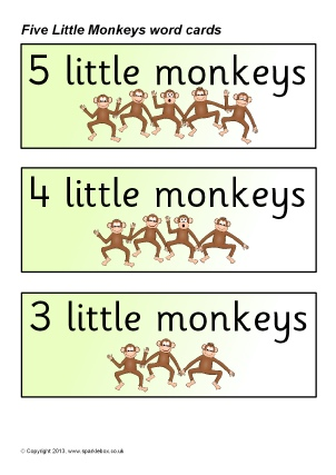 five little monkeys jumping on the bed word cards sb9273