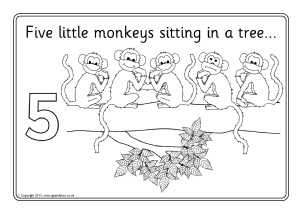 Five little monkeys swinging in a tree coloring pages for Five little monkeys jumping on the bed coloring pages