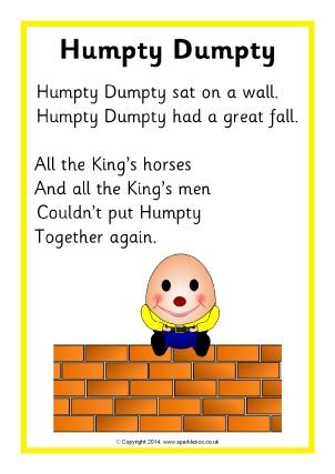 Humpty Dumpty Nursery Rhyme Teaching Resources ...