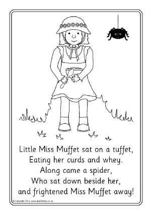 little miss muffet colouring sheets sb4266